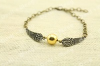 20pcs/lot Bronze Tone The Golden Snitch Bracelets harry potter jewelry handmade gift