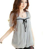 Hot-selling summer plus size sweet loose short-sleeve meat solid color women's chiffon shirt top black light gray 3xl xxl xl l