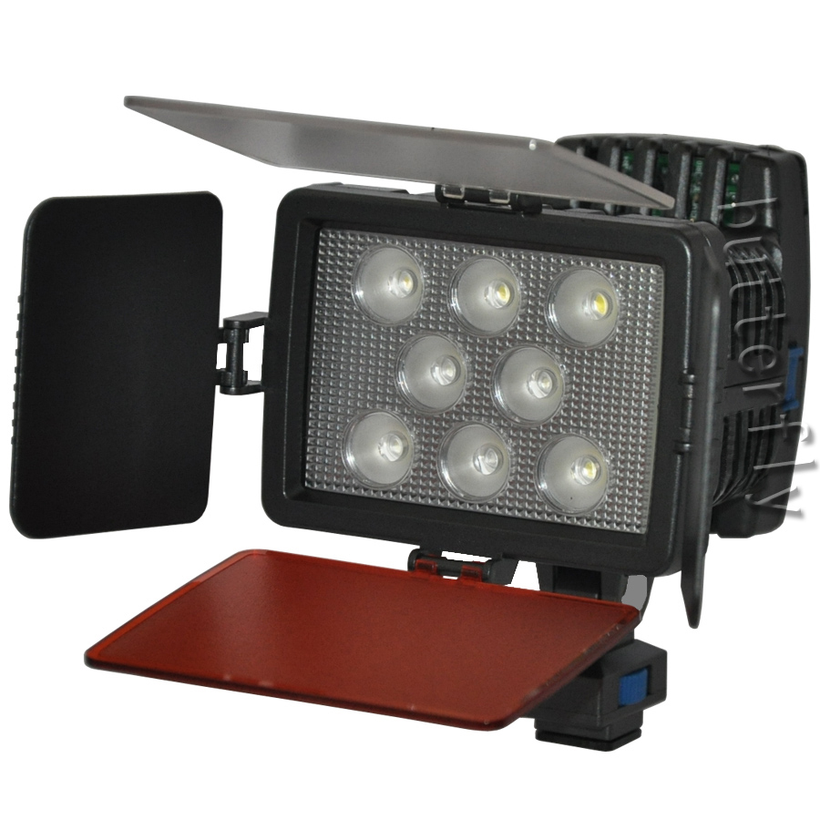 Adjustable 3000-6000K LED-5080 8 LED 22W Video Light for DV Camcorder Camera Hot Shoe Lamp(China (Mainland))