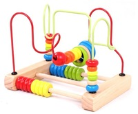 Candice guo! Newest arrival educational wooden toy around beads colorful desktop abacus bead calculating frames