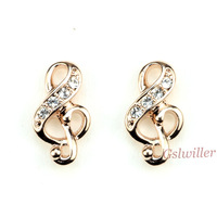 Free Shipping  Italina Rigant  Fashion Austrian Crystal crystal Earring Wholesale Musical Note Stud Earring Birthday gift
