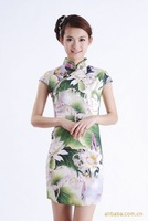 Chinese Women's Lotus Mini Evening Dress Cheongsam Size:S-2XL