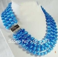 RARE 4 ROWS 8MM BLUE REAL OPAL JADE BEAD NECKLACE Fashion jewelry