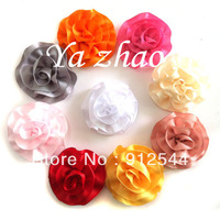 "2"" satin ribbon puff, baby hair flower, hair accesory, 15color in stock, free shipping by EMS, 300pcs/lot"
