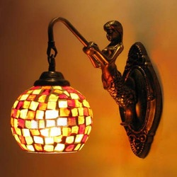 The European antique lamps wholesale corridor aisle Restaurant creative lighting mosaic glass mermaid Wall(China (Mainland))