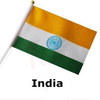 free shipping Hand waving Flag  10pcs/set National Flag  India   14*21 cm