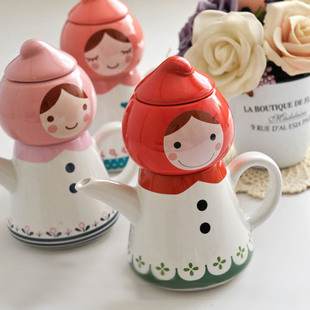 Free shipping Birthday gift peach tea for one little red riding hood porcelain doll teapot cup water bottle(China (Mainland))