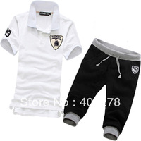 Free shipping  Man lamborghini tracksuit Sport suit short-sleeve O-neck T-shirt + Pants Purple white gray SIZE M-XXXL G66