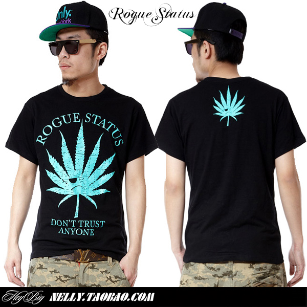 Rogue status la weed hiphop hip-hop lovers short-sleeve t-shirt t shirt(China (Mainland))