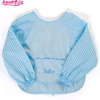 Baby child waterproof dinner gowns 100% cotton shirt bibs