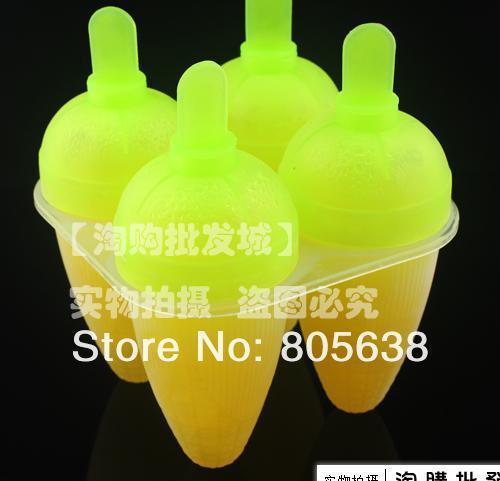 12 set/lot 4 Corn Shape Ice Cream Maker Ice Pop Popsicle Mold Frozen Food DIY Set Tool Free Shipping(China (Mainland))