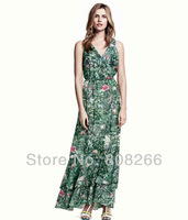 free shipping 2013 new fashion v neck women maxi chiffon dress summer hot beach dress