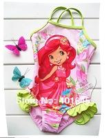 2014 new item girl one piece swimwear cute design kids strawberrry shortcake girl bikini