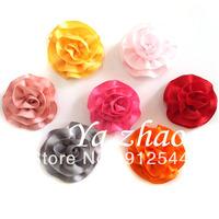 "2"" satin ribbon puff, baby hair flower, hair accesory, 90pcs/lot, mix 15colors, 6pcs/color, free shipping"