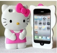 Free shipping    Pink 3D Cute Hello Kitty Soft Silicone Back Case Cover Skin for iPhone 5 5G