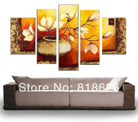 Large Wall Painting Decor Canvas Modern Orange Flowers Oil Picture Living Room Craft pt197