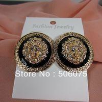 Min Order $10 New Fashion Jewelry Europe Enamel Metal Gold Lion Head Stud Earring