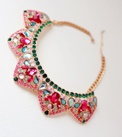 Young girl  vintage rhinestone false collar necklace short necklace  colorful necklace  Free shipping