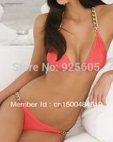 Free shipping Sexy women Halter Bra with Bow-tie Padded boho dolly bikini Swimwear swimsuit S M L T12