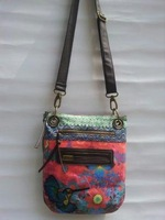 Hot selling New desigual womens Mixed colors embroidery Canvas handbag Messenger lady's shoulder bag