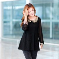 Free shipping Sweet peter pan collar Sequins Decoration chiffon gauze long-sleeve slim women's spring and autumn blouse,black