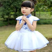 Hot sale New style girl summer print dress China Classic blue and white porcelain kid dress child TuTu dress princess dress 5pcs