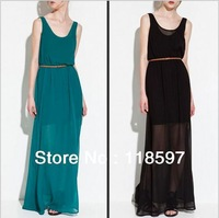 free shipping, Elegant!! The summer of 2013 new vest dress Long Beach skirt dress sexy double evening dresses with belt design
