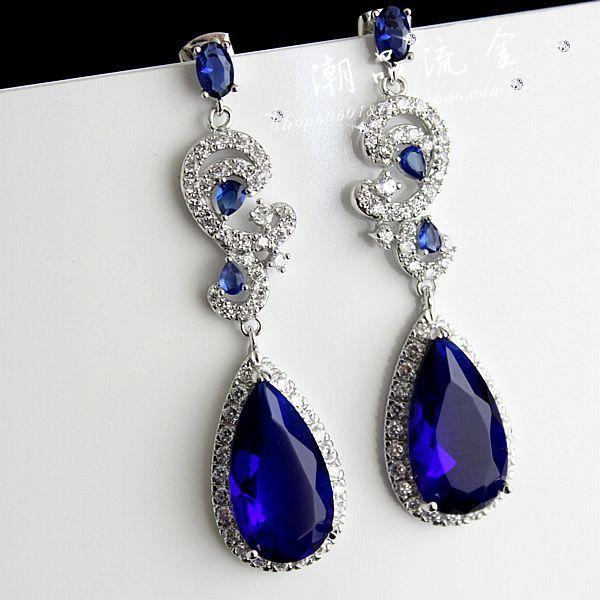 Elegant jewelry star jewelry red carpet blue zircon earring marriage accessories