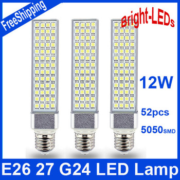 Cost Price 2pcs 12W G24 E27/26 LED Bulb Cornlight Lamp 52 LED 5050 180 degree White/ Warm White horizon down lights New Arrival
