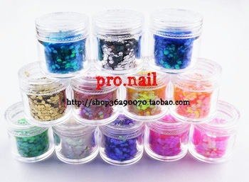 Free shipping Nail art accessories big 12 paillette nail art laser chip cuicanduomu 10g bottle  mixed colors in a lot