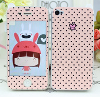 For iphone  4 4s phone film mobile phone cartoon film leather protective film phone case small fresh polka dot