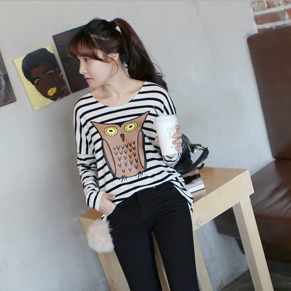 Free shipping 2013 cotton owl loose stripe long-sleeve basic shirt pullover t-shirt 131F(China (Mainland))