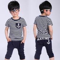 2013 summer navy style boys clothing baby short-sleeve T-shirt capris set tz-0641