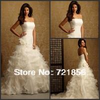 WDS-01 2014 New Arrival Custom Made Draped Flowers Bandage Train Wedding Dresses