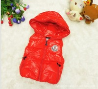 Children's clothing  autumn new arrival cotton-padded thickening child vest male child cotton vest with a hood vest