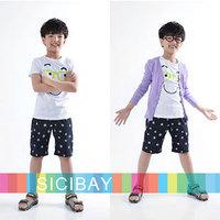 New 2014 Cartoon Suits Boys Summer Fashion Sets Kids Leisure Wear, Cartoon Tshirts + Stars Shorts,Free Shipping K0522