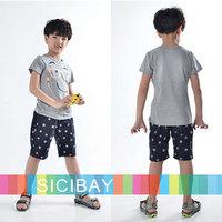 Free Shipping Kids Suits Little Boy Fashion Wear Leisure Sets, Cartoon Tshirts + Stars Shorts,5sets/lot K0522