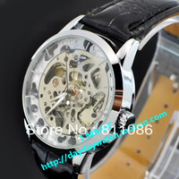 HOT Free shipping 1PCWinner large dial fully  mechanical watch large dial large double faced cutout WW-1006