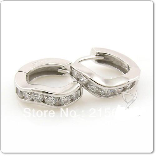 ITALINA New stylish atmosphere wavy forced inlaid zircon 925 sterling silver ear buckle men women stud earring kedol-SE24093(China (Mainland))