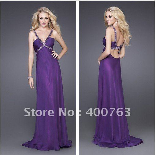 Free Shipping/Custom Made 2013 Summer A-line Chiffon Elegant V-neck Stunning Formal Prom Dress(China (Mainland))