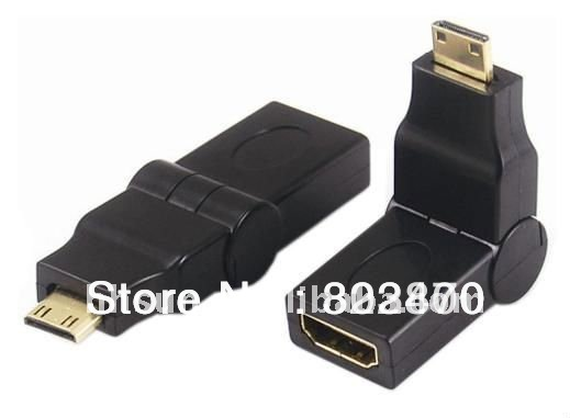 [HOT SELLING!] WHOLESALE 20PCS/LOT Mini HDMI type C TO HDMI Female 180d 90d Rotating Swivel Right Angled Adapter(China (Mainland))