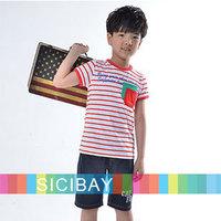 New Summer Kids Clothing Free Shipping Boys Fashion Outfits Striped Sets Striped Tshirts + Casual Half Pants,5sets/lot K0520
