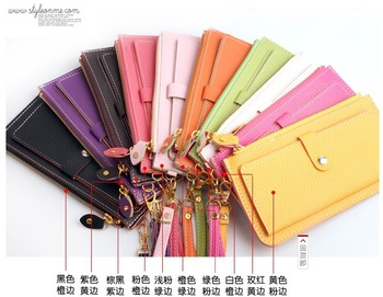 Fashion Candy Colors Ladies' PU Hand bag Hot Sale Zipper organzier Wallet for Women 21*11cm ladies coin purses wallets12color