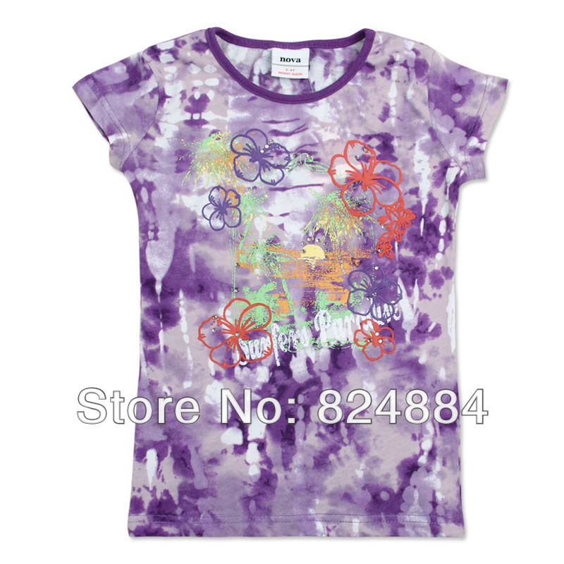 FREE SHIPPING nova kids ready made tie dyed emboss print flower cotton t shirt K2508#Purple(China (Mainland))