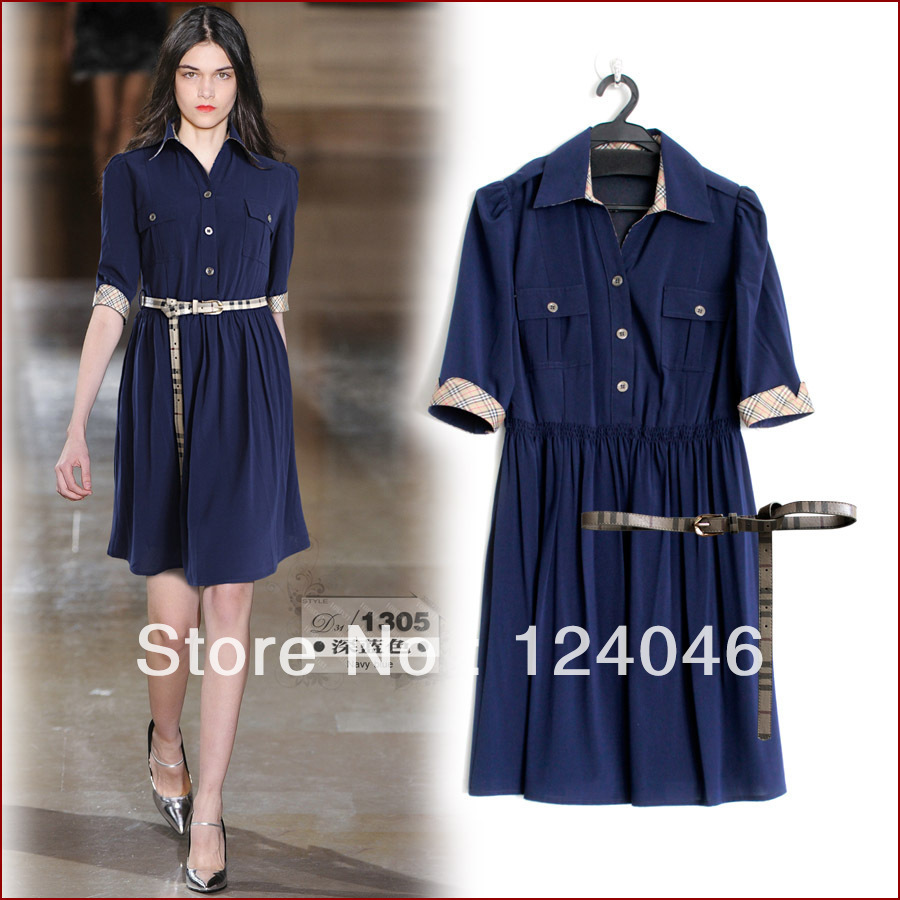 2013 spring and summer new high-quality women's fashion women star the same paragraph beige cotton dress with belt,Free Shipping(China (Mainland))