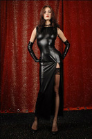 SEXY Long Black Patent Leather Dress Nightclub Spice Served Role Playing Dance Clothing. Costumes DS YK682