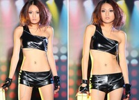 SEXY New Patent Leather Female Stage Loading Dance Costumes Nightclubs Uniform Taking Jazz Clothing YK695