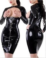 SEXY Uniform Black Patent Leather Exposed Breasts Costumes Ds Costume Dance Jazz Bar Singer Under Nightclubs YK696