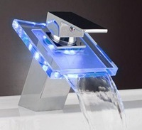 Advanced Modern No Need Battery Colorful Nice LED Waterfall Chrome Brass Bathroom Mixer Tap Faucet AD1142