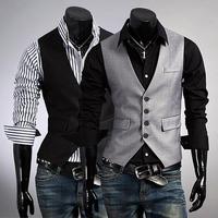 High quality high quality men's black,grey fashion slim suit vest  men's casual business dress vest top outwear  1411b-m05-p55